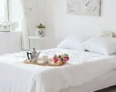 Plain linen White bedding White duvet cover set White bedding White bed sheet White bamboo duvet cover White pillowcases SEAMLESS
