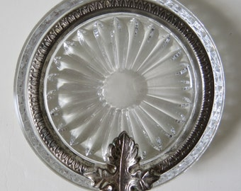 Vintage round cut glass trinket dish  ashtray with silver metal rim and leaf