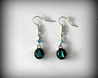 Dichroic earrings with swarovski toupies-earrings/glass jewelry