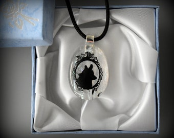 Dichroic Glass jewel with dog decal/glass jewel