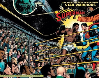 Muhammad Ali VS Superman Promo Fighting Boxing Poster sport quality