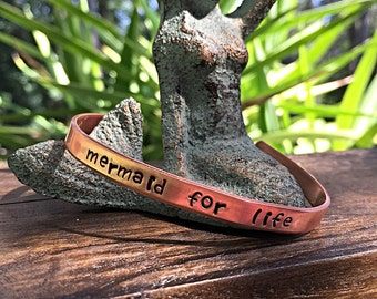 Mermaid for life- Handstamped bangle- Handstamped bracelet- Mermaid life- Mermaid- Stacking bangle-Beach jewelry