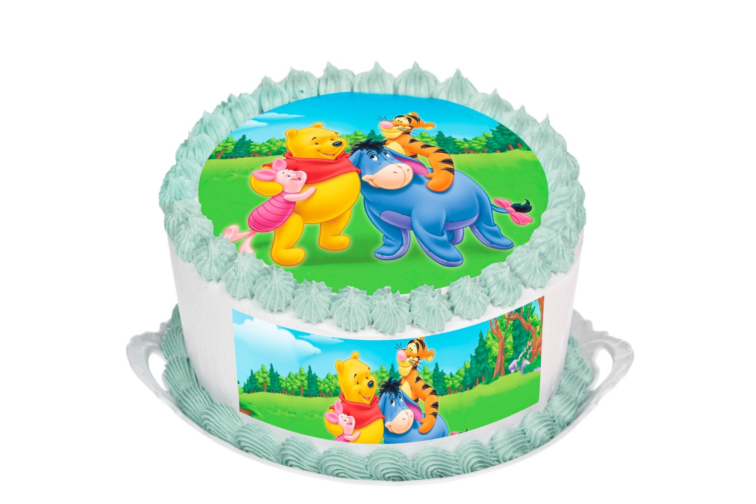 Winnie The Pooh Edible 7.5 Inch Round Cake Topper for 8 inch