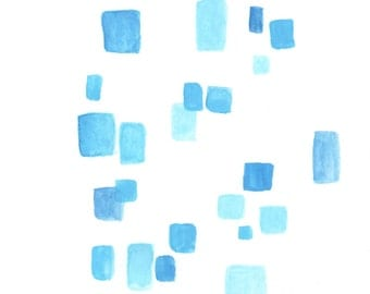blue square watercolor DIGITAL DOWNLOAD