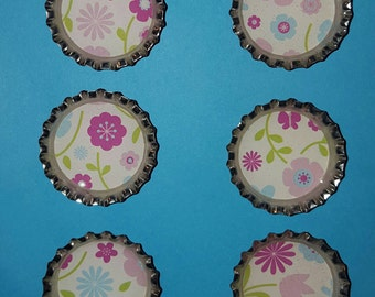 Floral Bottlecap Magnets