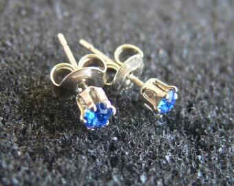 "Earrings-Swarovski 3 mm light ""sapphire"" and Silver 925"