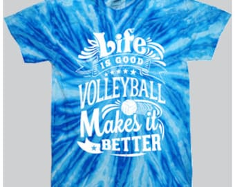 Life Is Good - Tie-Dye Volleyball T-shirt