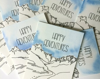 Happy Adventures Letterpress and Watercolor Stationery - Set of 5