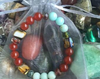 Amazonite and Carnelian Beaded Bracelet