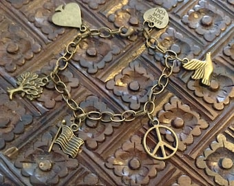 Antique Bronze Charm Bracelet