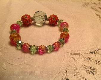 Green and pink Lampwork stretch bracelet