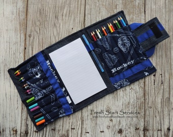 Hockey Art Kit, Colouring Tote, Kids Gift, Gifts for Kids, Road Trip, Crayon Wallet, Travel Colouring
