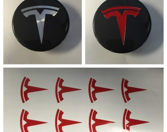 8pc Red TESLA T Center Cap Vinyl Overlay Sticker Decal Logo Overlay Graphics