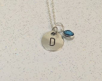 Birthstone Necklace, Stamped Initial Necklace, Customized Necklace, Gemstone Necklace