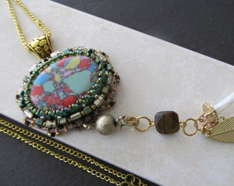 One of a kind bead embroidered necklace