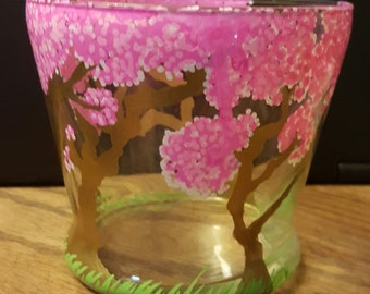 Hand painted candle holder