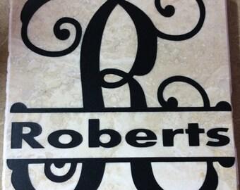 coastal tile monogram - name coaster - tile coaster - gift -