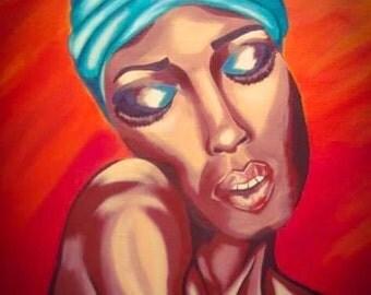 Brazilian woman original acrylic painting
