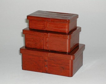 Set of 3 nesting lunch or picnic boxes, bentwood, Japan