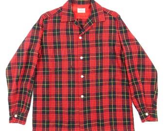 1960s PENNEY'S TOWNCRAFT Tartan Check Pattern Wool Shirt