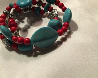 Turquoise&Red memory wire
