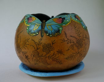 Brilliant Blue Butterfly Gourd Planter