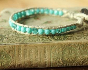Sky Blue Czech Glass Beaded Hemp Bracelet/Boho Hemp Bracelet/Boho Bracelet/Beaded Bracelet/Beaded Wrap Bracelet/Czech Glass Beaded Bracelet