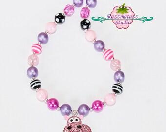 Pink Hippo bubblegum necklace