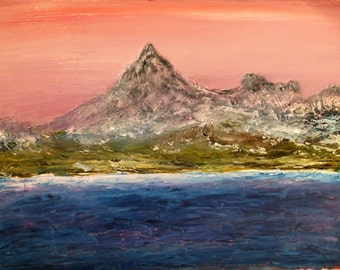 "Original Oil Painting, Mount Ascoth. Seascape. 10"" x 15"""