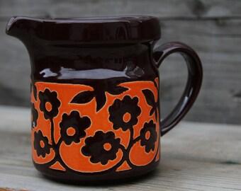 Boho Chic Vintage Waechtersbach WGP Ceramic Milk Water Juice Pitcher Jug Brown with Hip Orange Floral Decor