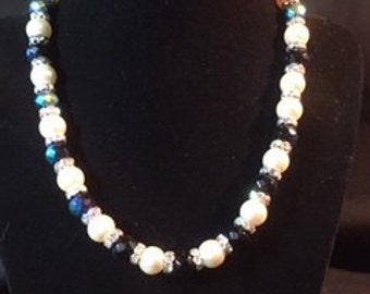 Sparkling white pearl, crystal rondel and multi-faceted blue bead necklace