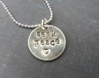 Seek Peace Metal Stamped Necklace