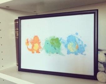 Original 3 Starter Pokemon -  Watercolour Print Charmander Bulbasaur Squirtle