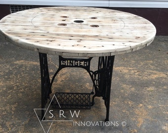 Stunning Repurposed Sewing Machine Table - Spool Top - Sewing Machine Base - Unique Table - Vintage Sewing Machine - Repurposed Furniture