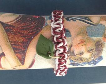 Leaf charm Burgundy/white hemo bracelet