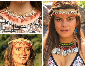 Handmade Shipibo Necklace Tribal Native Peruvian Jungle Feathers Seeds Head Piece Crown