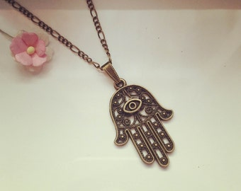 Hamsa on long chain, hand, faith