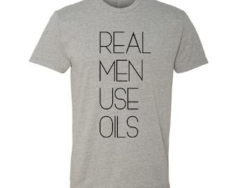 REAL MEN Use OILS comfy crew neck tshirt in Heather Grey