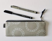 slim pencil case, screen printed pouch, zipper pouch, printed fabric, wheels, leather pull, zipper tab, make up case, pouch