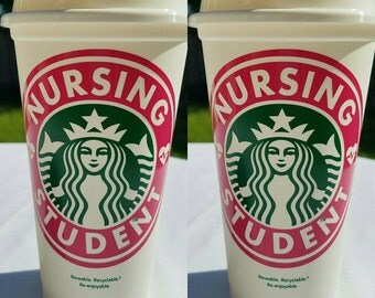 Nursing Student Starbucks Reusable Plastic 16 Ounce Coffee Cup, Starbucks Coffee, Nursing Gift, RN Gift