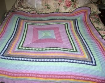 Square warm multi-color crochet textured blanket