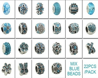 Charm Central Premium Blue Mixed Charms for Charm Bracelets -22 Charms for Charm Bracelets -All Charms Fit Pandora and Other Charm Bracelets