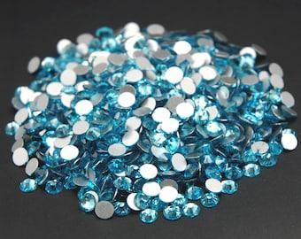 Top Quality Aquamarine Flat Back Glass Rhinestones Non Hotfix Glue On