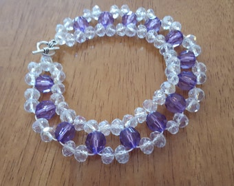 Clear and purple crystal bead bracelet with adjustable toggle clasp