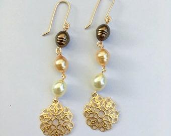 Gold Filigree Earrings, Pearl Earrings, Filigree flower Earrings, Filigree Dangle Earrings, Pearl Dangle Earrings
