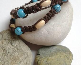 Turquoise macrame wrap bracelet