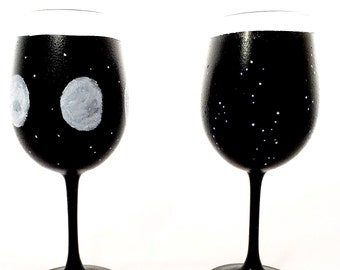 Wine Glasses Night Sky, Hand Painted, Phases of the Moon, Astrology,  Moon and Stars, Constellations, Zodiac Wine Glass, Wine Glass Set of 2