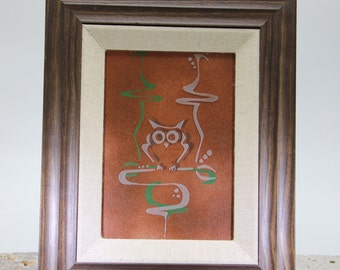 Framed Etched Owl
