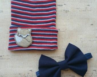 Baby boy hat set - baby bowtie - baby boy gift set - newborn boy hat - newborn bowtie set - boy hospital hat - navy bowtie - fox baby hat