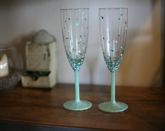 Bubble Champagne Glasses- Hand Painted